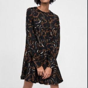 Zara Chain Print Ruffle Dress